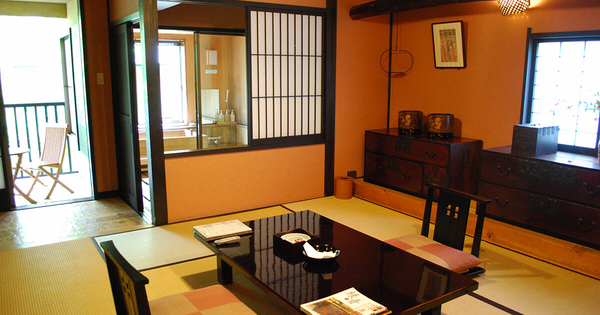 Japanese-style room two ken type of ease hall all rooms hinoki half with open-air bath